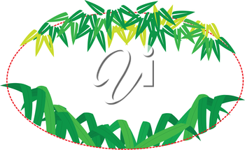 Royalty Free Clipart Image of an Oval Bamboo Text Frame