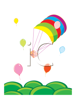 Royalty Free Clipart Image of a Present Being Delivered by Balloon