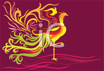 Royalty Free Clipart Image of a Phoenix