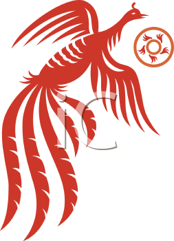 Royalty Free Clipart Image of  an Oriental Phoenix
