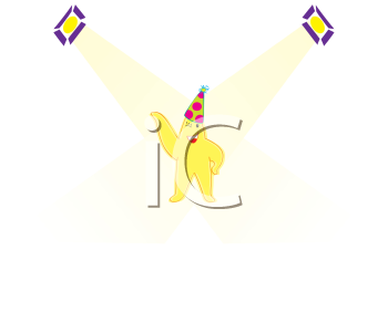 Royalty Free Clipart Image of a Smiling Star Wearing a Party Hat