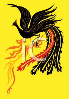 Royalty Free Clipart Image of a Black Phoenix