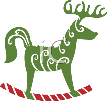 Royalty Free Clipart Image of a Reindeer Rocking Horse