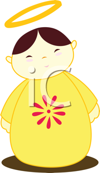 Royalty Free Clipart Image of an Angel With a Flower on Its Robe