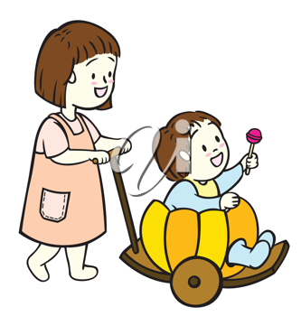 Royalty Free Clipart Image of a Woman Pushing a Stroller