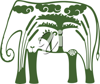 Royalty Free Clipart Image of an Elephant With a Tree and Clouds