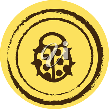 Royalty Free Clipart Image of a Ladybug on a Yellow Circle