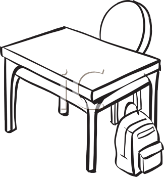 Royalty Free Clipart Image of a School Desk