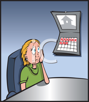 Royalty Free Clipart Image of a Woman Looking at an Office Calendar