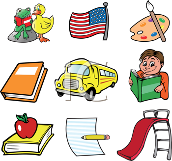 Royalty Free Clipart Image of a Collection of School Themed Pictures