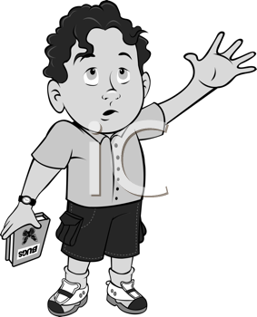 Royalty Free Clipart Image of a Little Boy With His Hand Raised