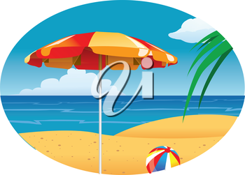 Royalty Free Clipart Image of a Beach Umbrella and Ball on the Beach