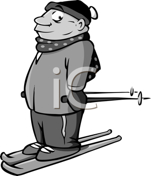 Royalty Free Clipart Image of a Male Skier
