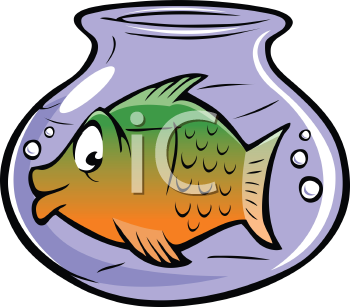 Royalty Free Clipart Image of a Goldfish Swimming in a Goldfish  Bowl