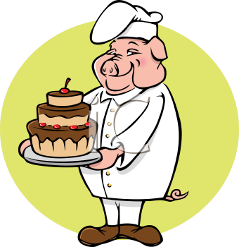 Royalty Free Clipart Image of a Pig Chef Holding a Cake