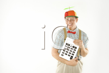 Royalty Free Photo of a Nerdy Man Wearing a Propeller Cap Holding a Large Calculator