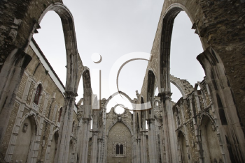 Royalty Free Photo of an Open Roof of Igreja do Carmo Ruins in Lisbon, Portugal