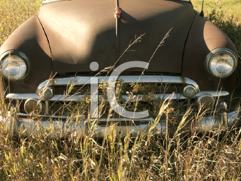 Royalty Free Photo of the Front End of an Old Abandoned Antique Car in a Field