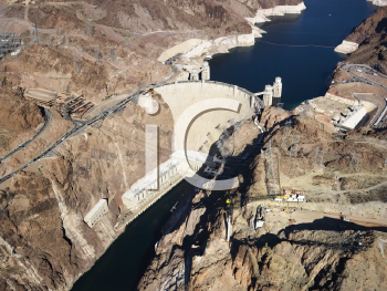 Royalty Free Photo of an Aerial View of Hoover Dam on the Nevada-Arizona Border
