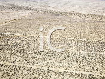 Royalty Free Photo of an Aerial of a California Desert With a Grid Pattern