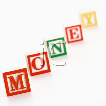 Alphabet toy building blocks spelling the word money.