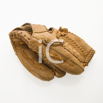 Baseball glove on white.