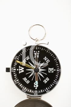 Royalty Free Photo of a Compass on a White Background