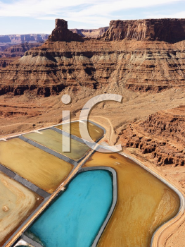 Royalty Free Photo of an Aerial Landscape of Tailing Ponds for Mineral Waste in Rural Utah, United States