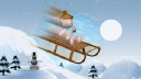 Royalty Free Video of a Teddy Bear on a Sled Going Down a Hill