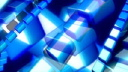 Royalty Free HD Video Clip of Rotating Blue Shapes