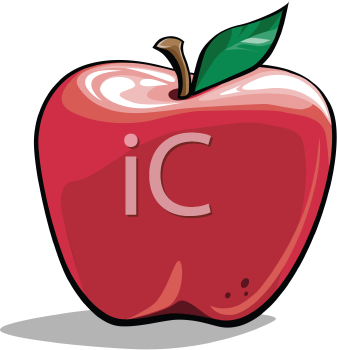 Royalty Free Clipart Image of a Red Apple