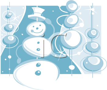 Royalty Free Clipart Image of a Retro Snowman