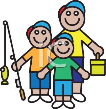 Royalty Free Clipart Image of a Family Going Fishing