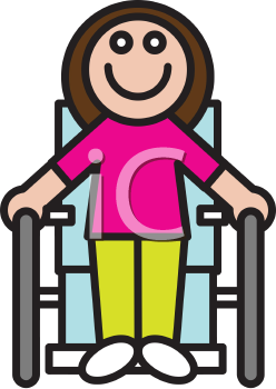 Royalty Free Clipart Image of a Girl Sitting in a Wheelchair