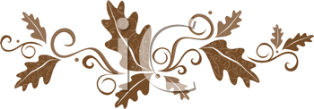 Royalty Free Clipart Image of A Brown Leaf Scroll