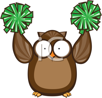 Royalty Free Clipart Image of an Owl Cheerleader With Green Pompoms
