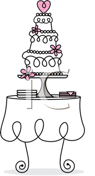 Royalty Free Clipart Image of a Wedding Cake on a Table