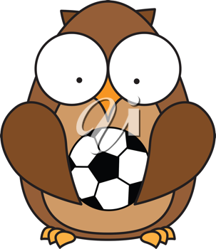 Royalty Free Clipart Image of an Owl With a Soccer Ball