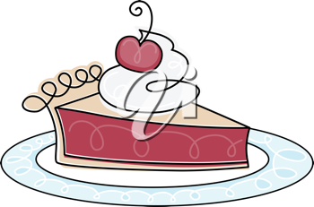 Royalty Free Clipart Image of a Piece of Cherry Pie