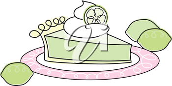 Royalty Free Clipart Image of a Key Lime Pie