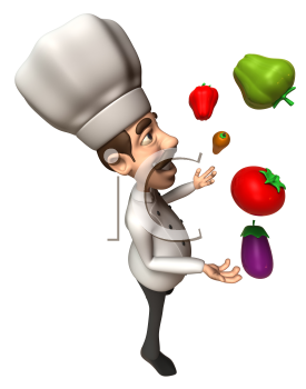 Royalty Free 3d Clipart Image of a Chef Juggling Vegetables