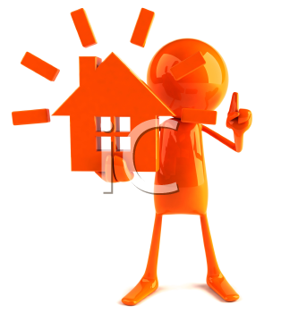 Royalty Free 3d Clipart Image of a Red Guy Holding a Model of a House