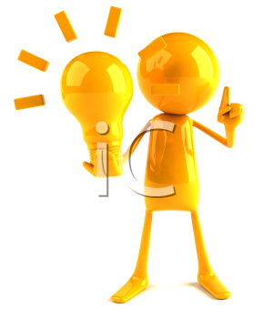 Royalty Free 3d Clipart Image of a Yellow Guy Holding a Large Lightbulb