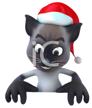 Royalty Free 3d Clipart Image of a Cat Wearing a Santa Hat and Holding a Sign Board