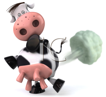 Royalty Free Clipart Image of a Cow Passing Gas