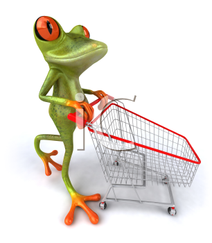 Royalty Free 3d Clipart Image of a Frog Pushing a Shopping Cart