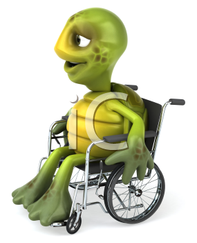 Royalty Free Clipart Image of a Turtle in a Wheelchair