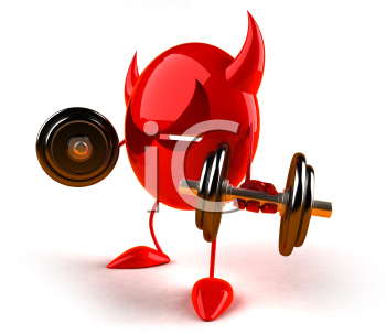 Royalty Free 3d Clipart Image of a Red Devil Emoticon Lifting Barbells
