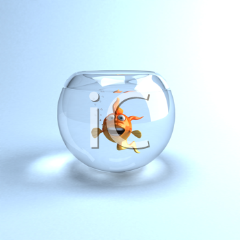 Royalty Free Clipart Image of a Fish in a Fishbowl