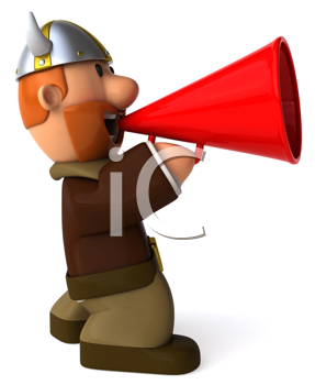 Royalty Free Clipart Image of a Viking With a Bullhorn